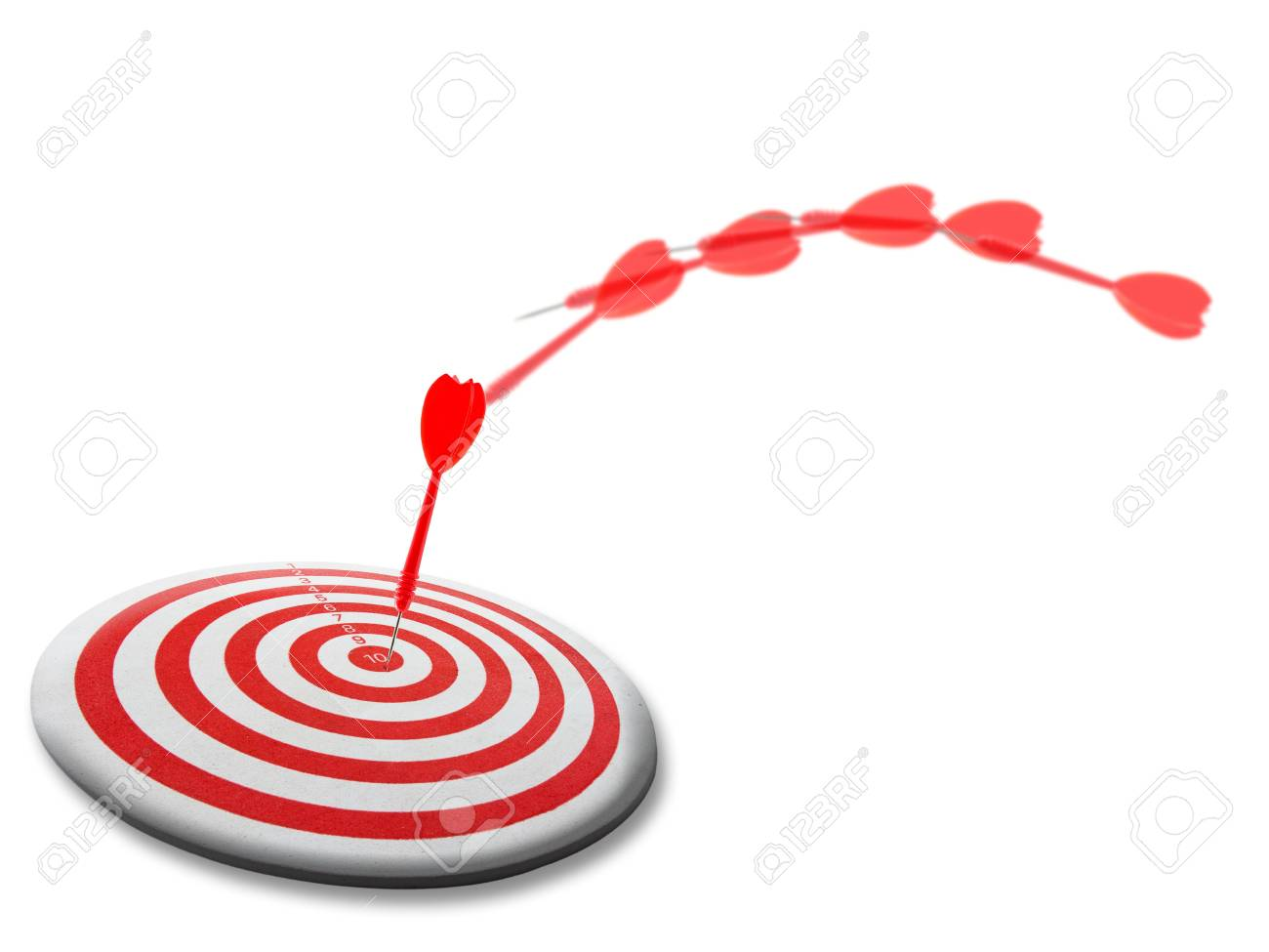 Red dart moves to the target Stock Photo - 13449945