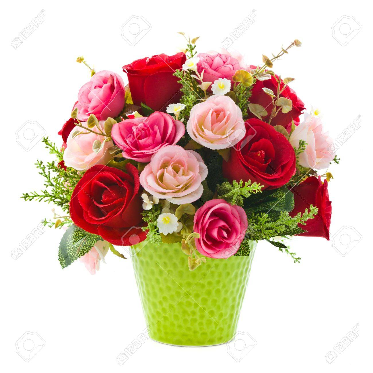 Artificial rose flowers in green vase on white background stock artificial rose flowers in green vase on white background stock photo 13906683 mightylinksfo