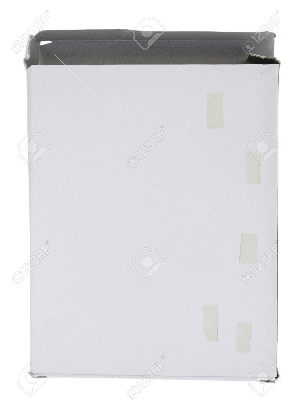 Old white cardboard box with adhesive tape isolated on white background Stock Photo - 13995255
