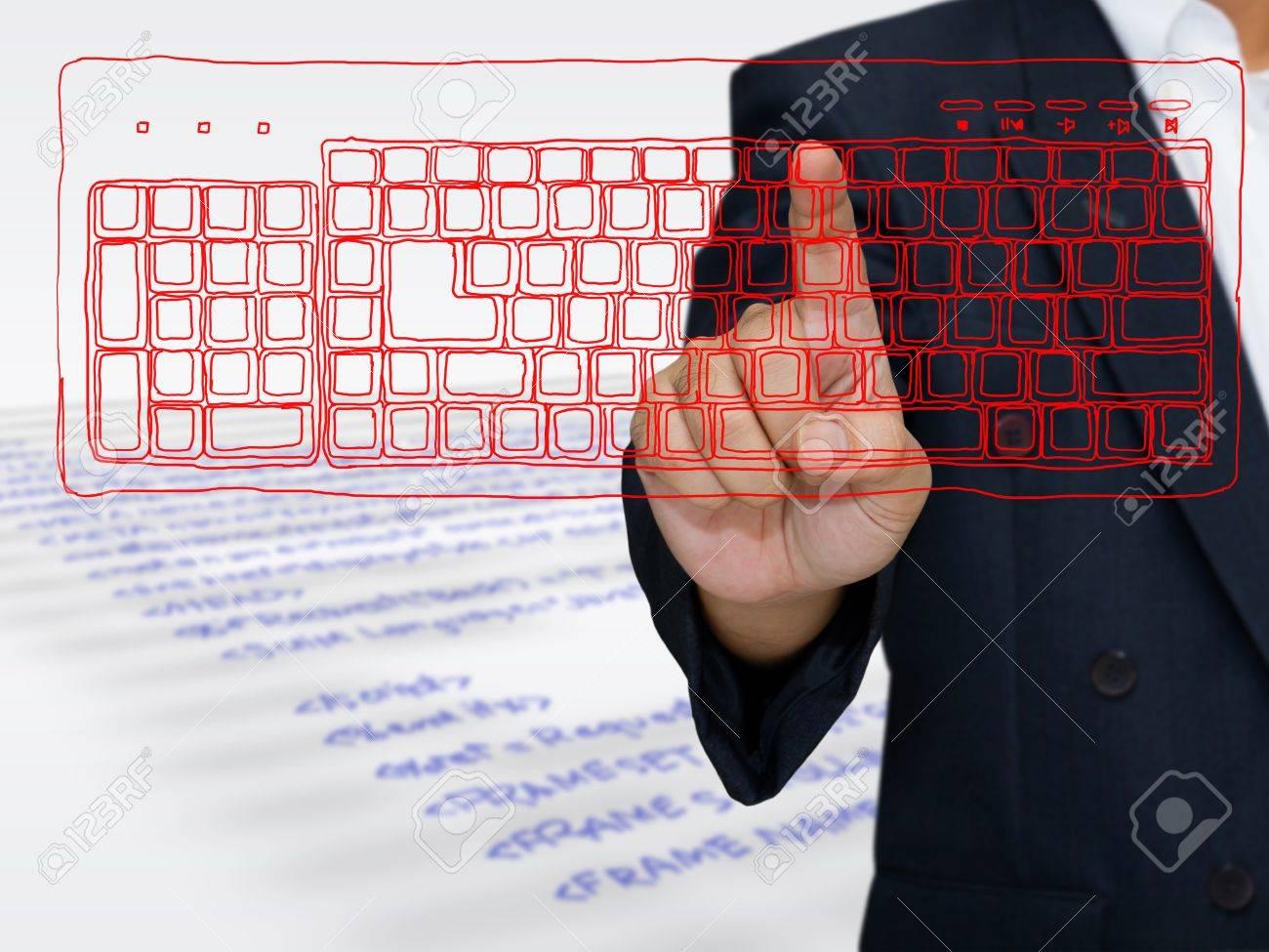 Hand press on sketching computer keyboard Stock Photo - 14814643