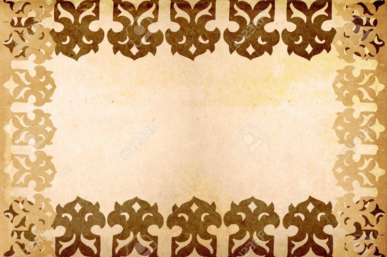 old paper with asian design pattern stock photo, picture and