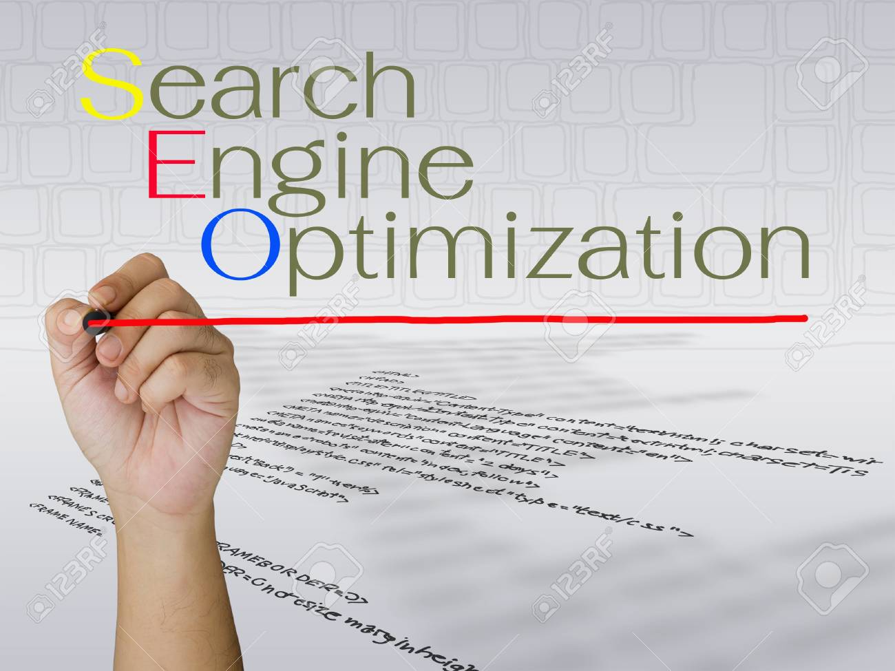 Hand writing search engine optimization concept Stock Photo - 15914766