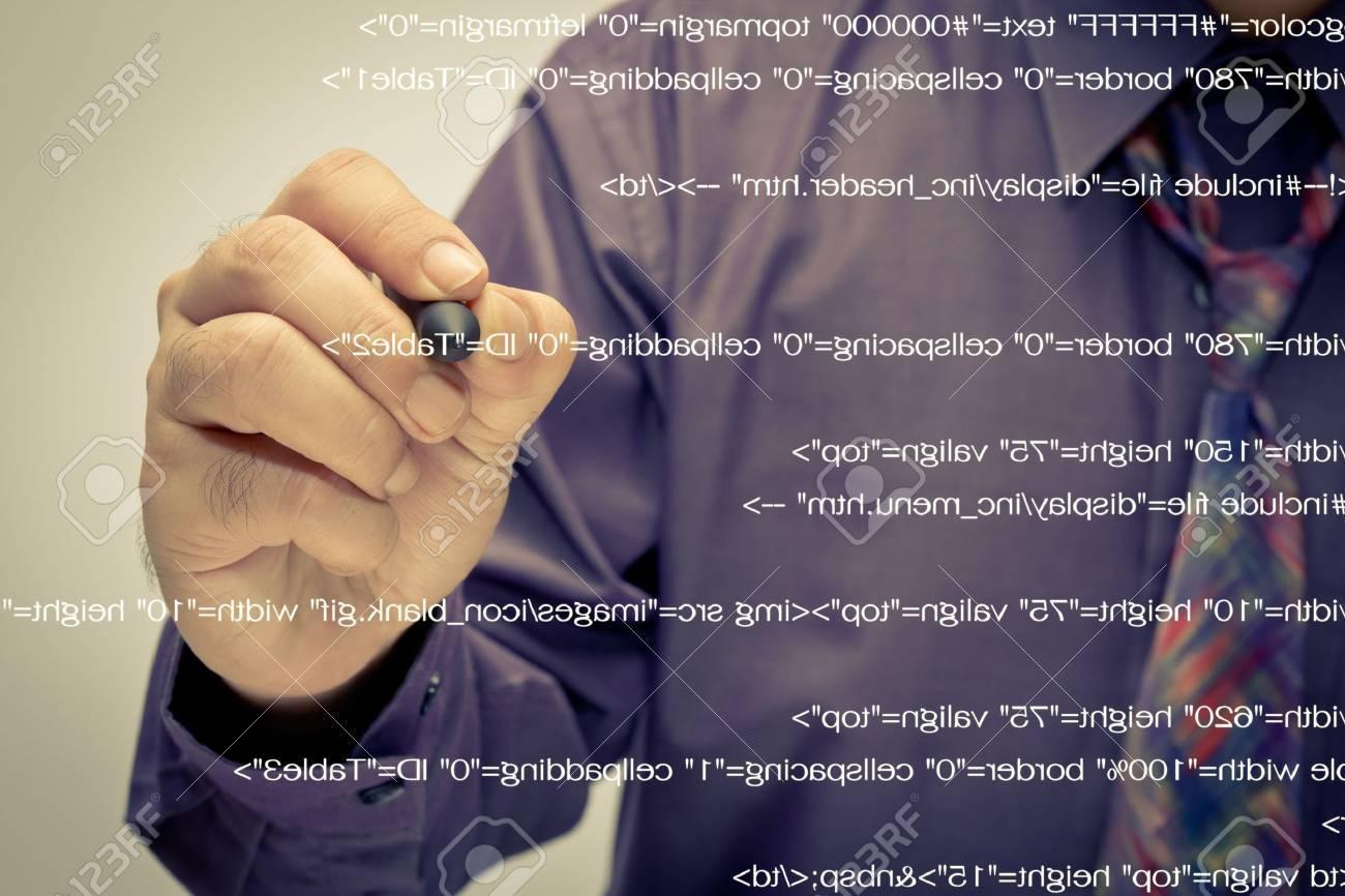 Man write a computer source code Stock Photo - 17617161