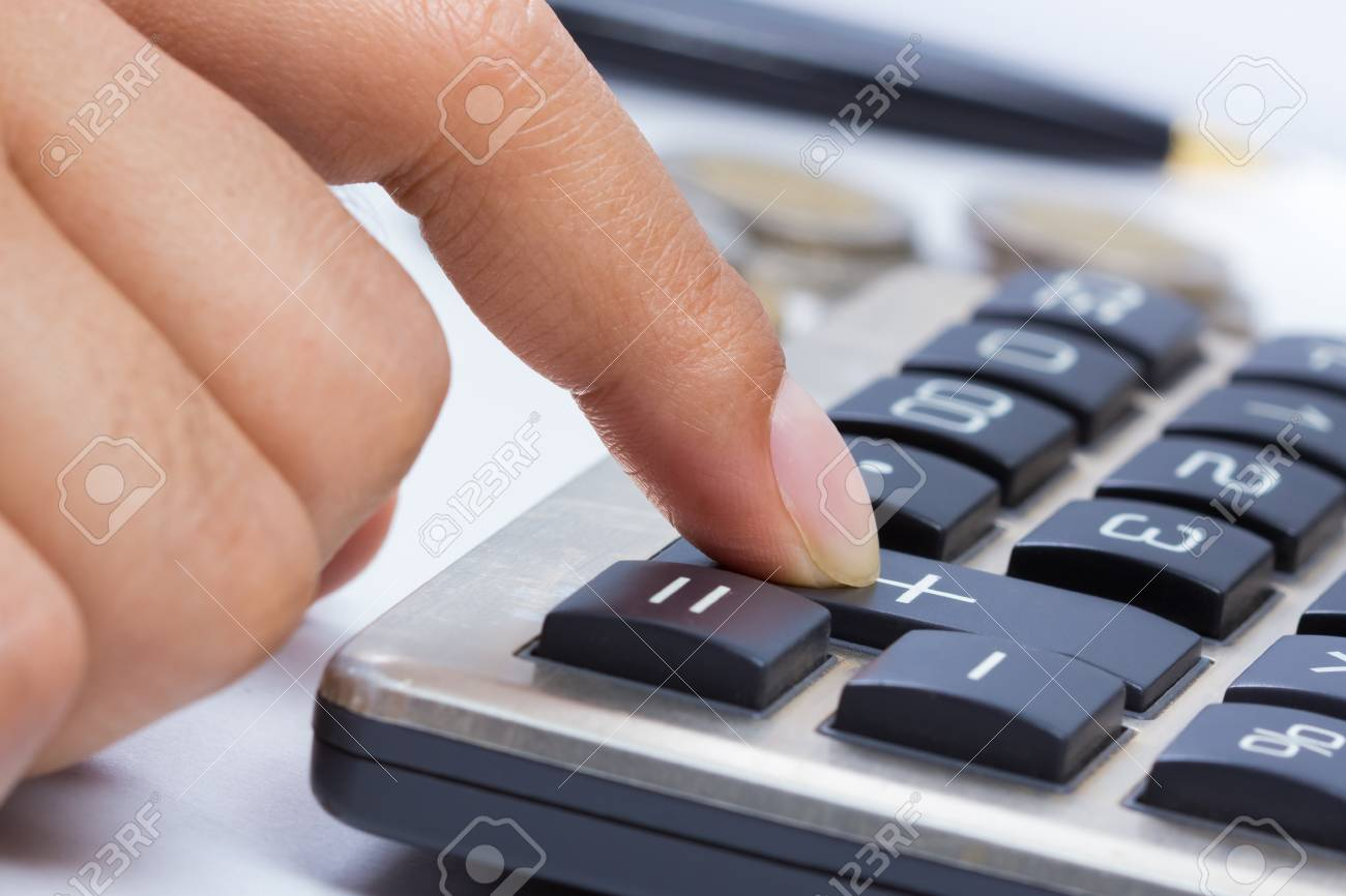 Finger press on plus button calculator  business growing concept Stock Photo - 17872503