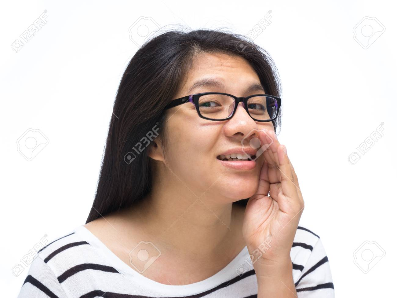 Asian woman cover her mouth and whispering Stock Photo - 18692877