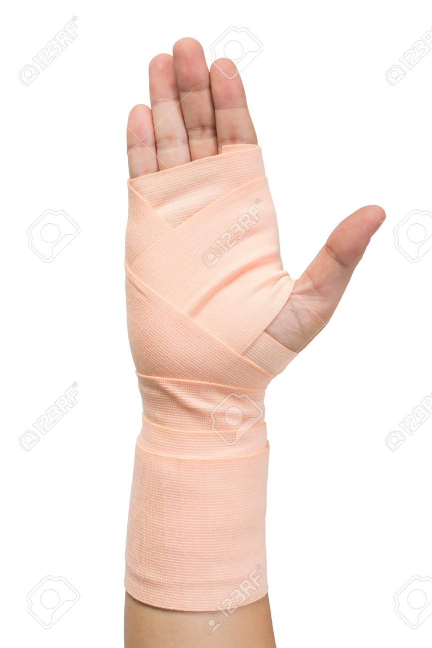 Hand In Elastic Bandage Isolated On White Background Stock Photo
