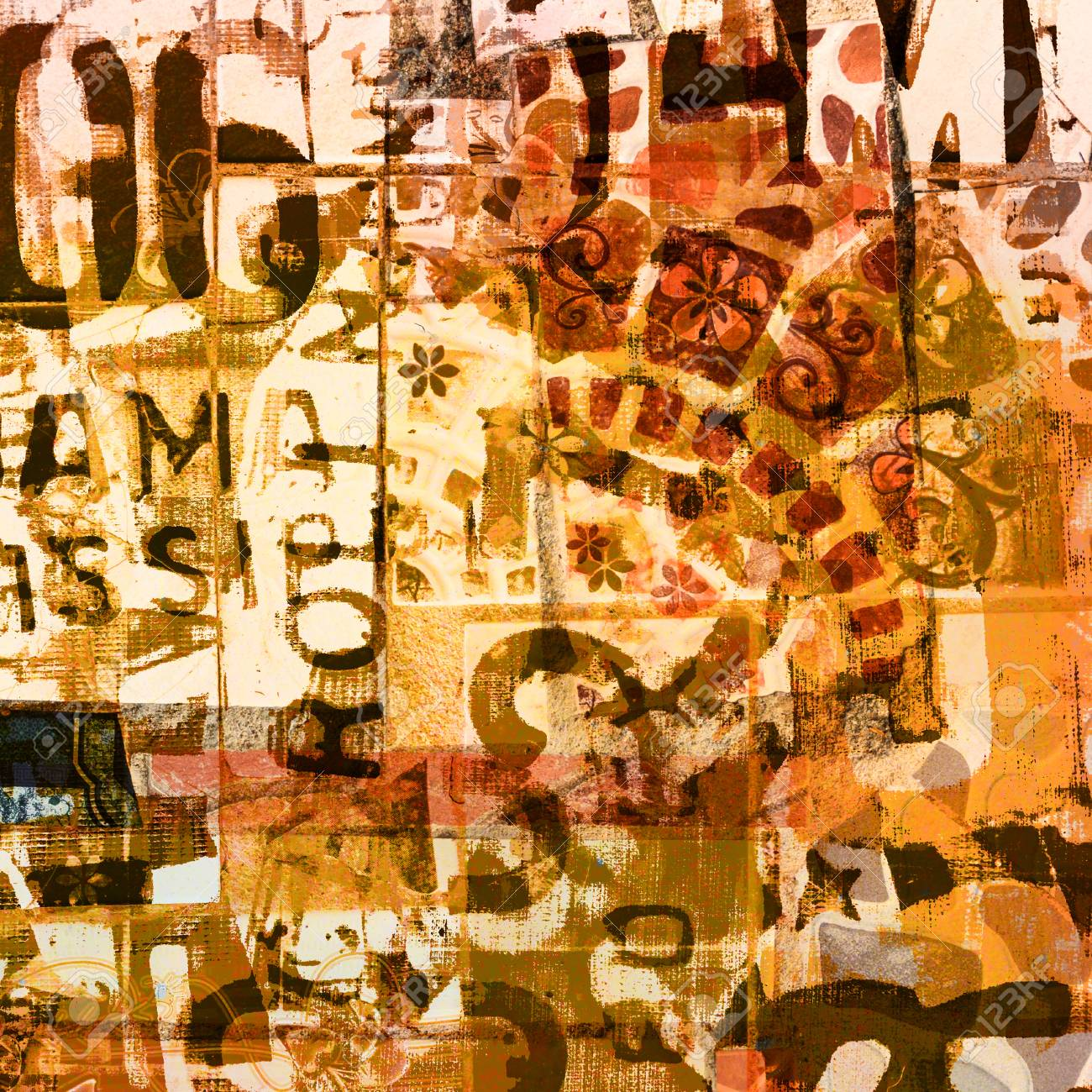 Abstract Art On The Wall, Mixed Media With Painting And Concrete ...