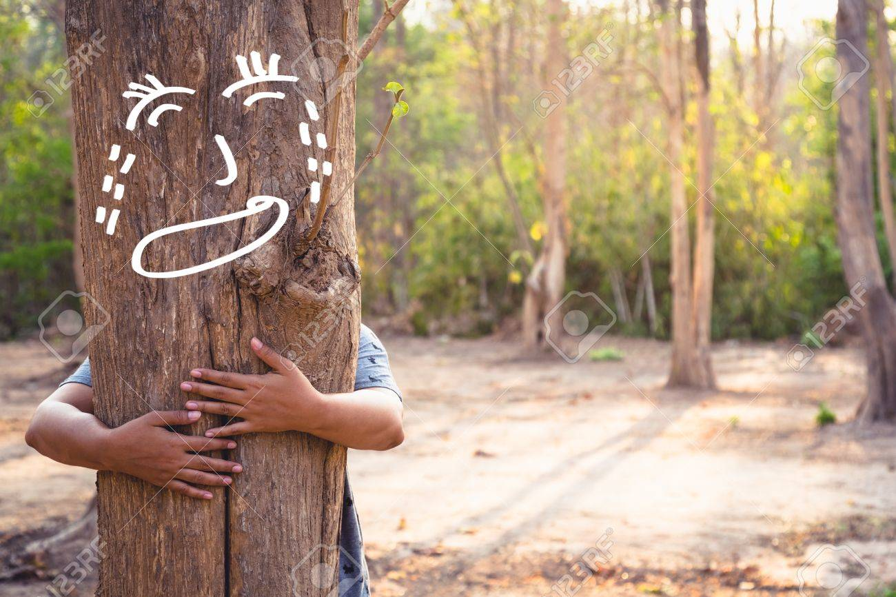 save forest concept woman give a hug to soothe the crying tree