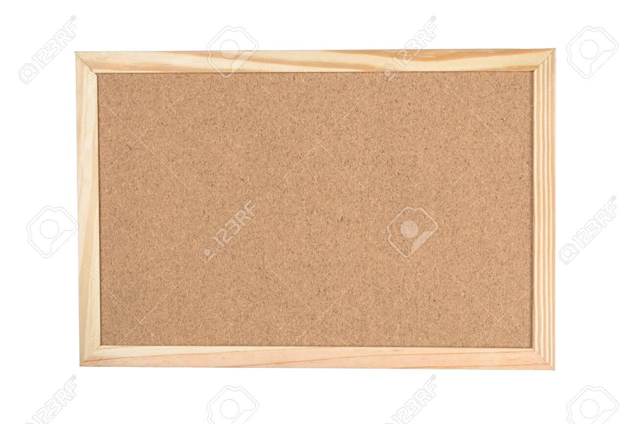 Corkboard with wood border frame isolated on white background - 135204240