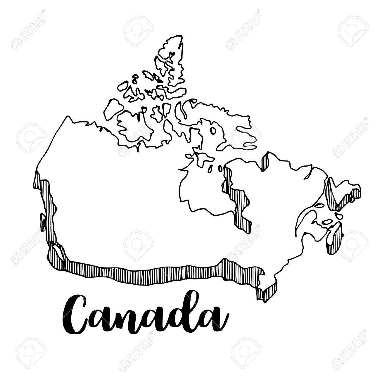 Hand Drawn Of Canada Map Vector Illustration Royalty Free Cliparts