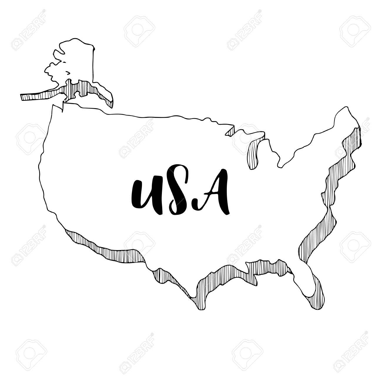 Hand Drawn Of USA Map, Vector Illustration Royalty Free Cliparts ...