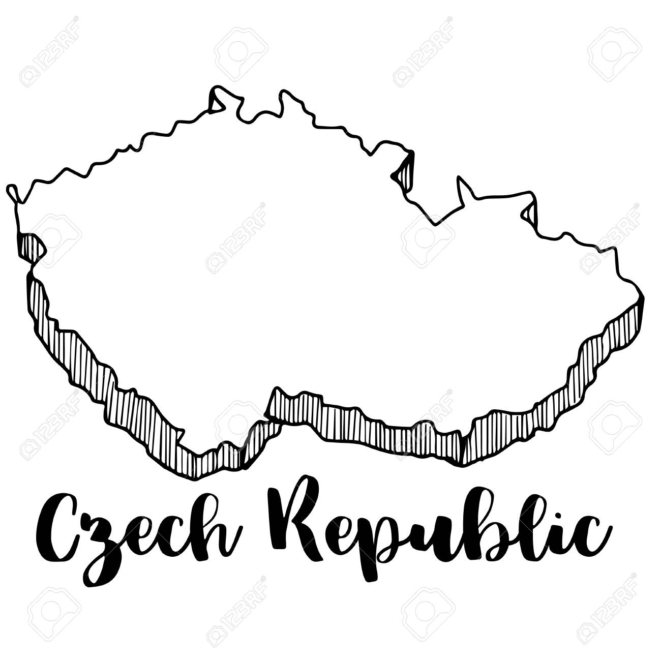 Hand Drawn Of Czech Republic Map Vector Illustration Royalty Free