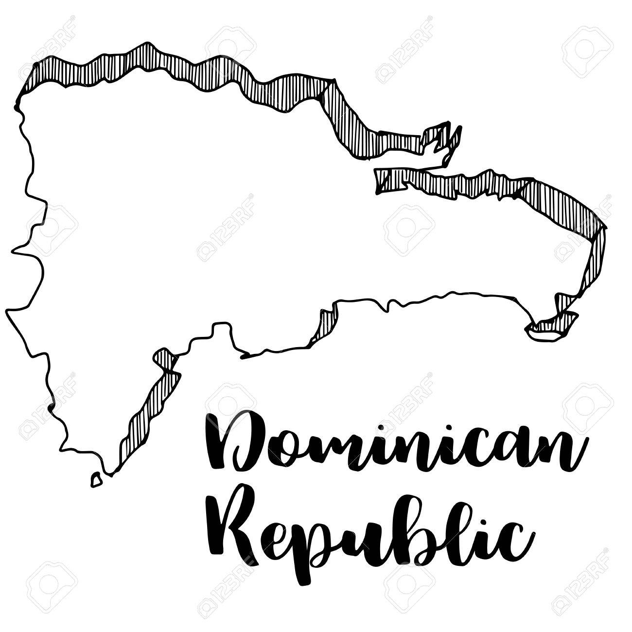 Hand Drawn Of Dominican Republic Map Vector Illustration Royalty - Dominican republic map vector