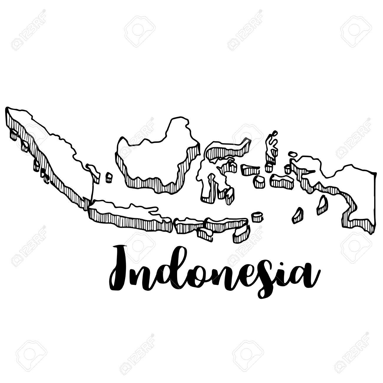Hand Drawn Of Indonesia Map Vector Illustration Royalty Free