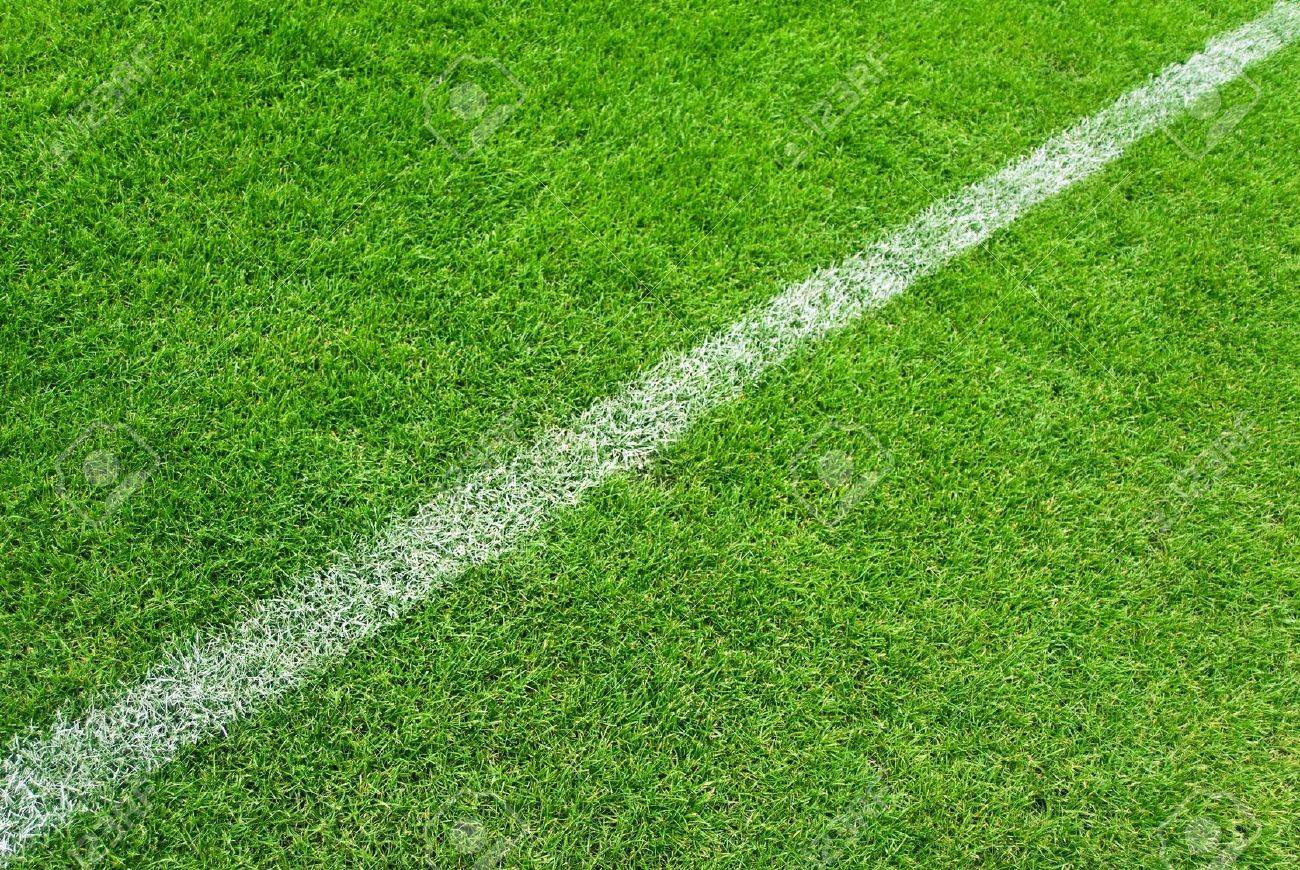 Soccer grass and white lines - 4849322