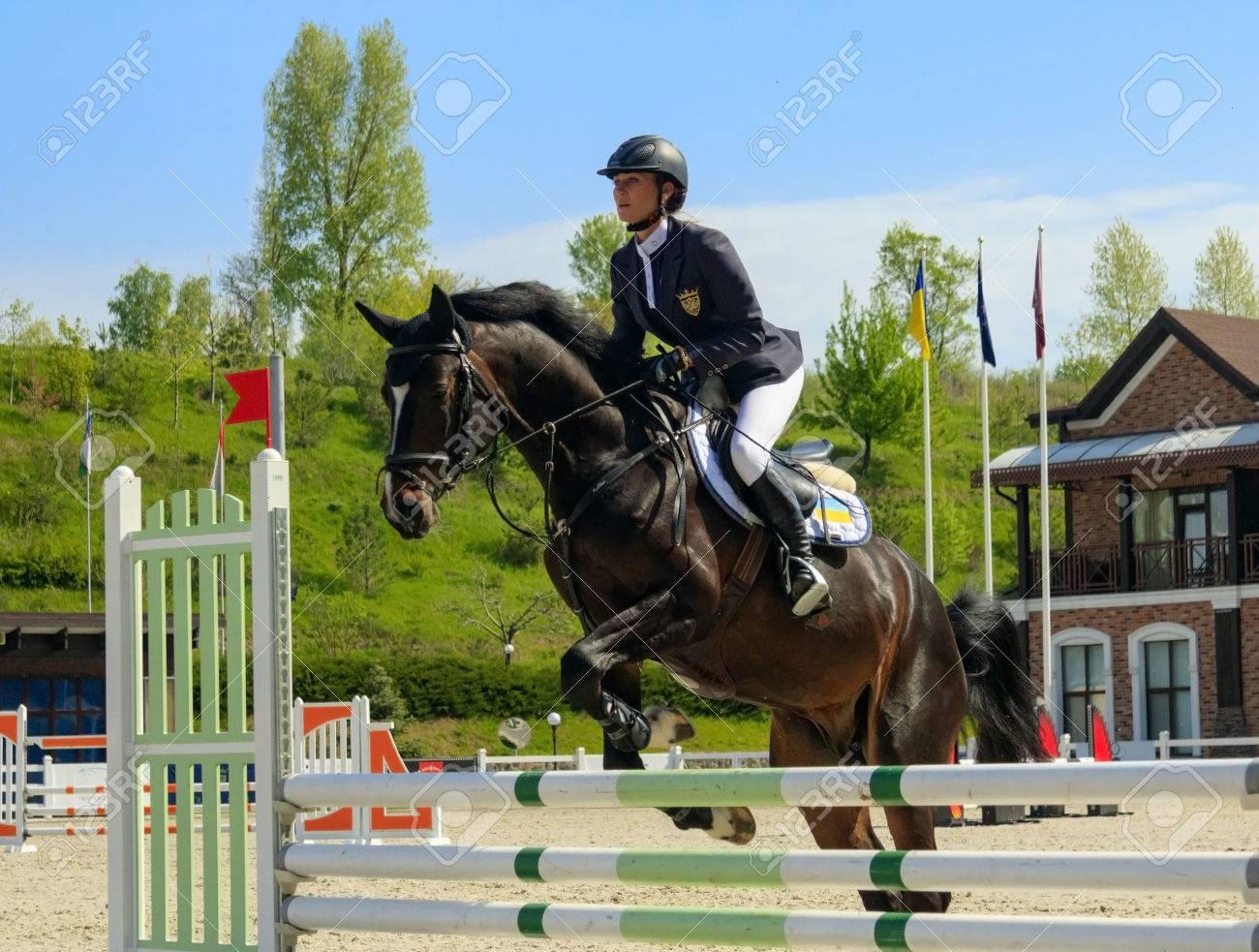 Kiev, Ukraine- April 30,2017:Championship of Ukraine on equestrian sport among amateurs. - 80218647