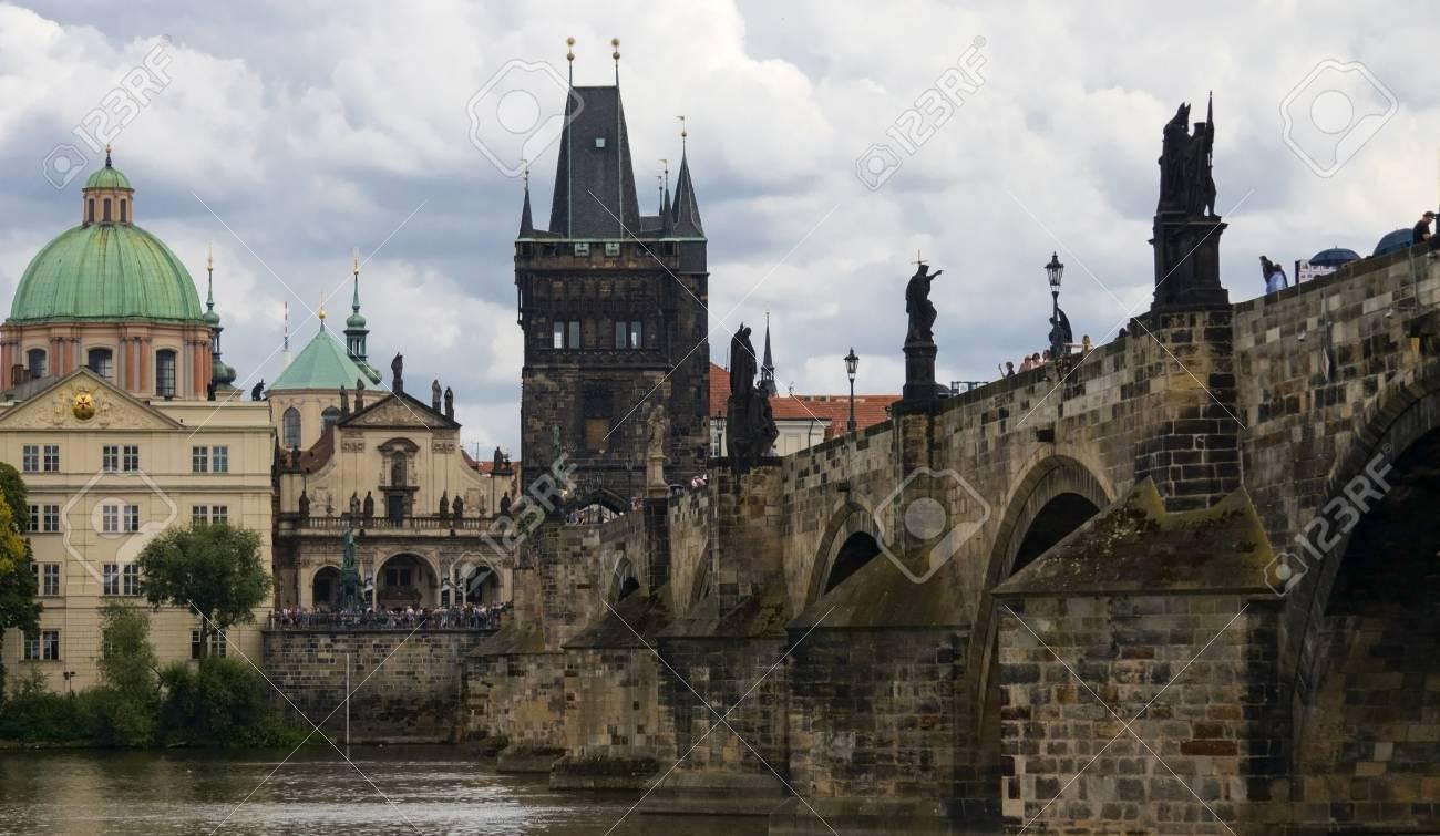 Prague Charles Bridge over the sky. - 84928155