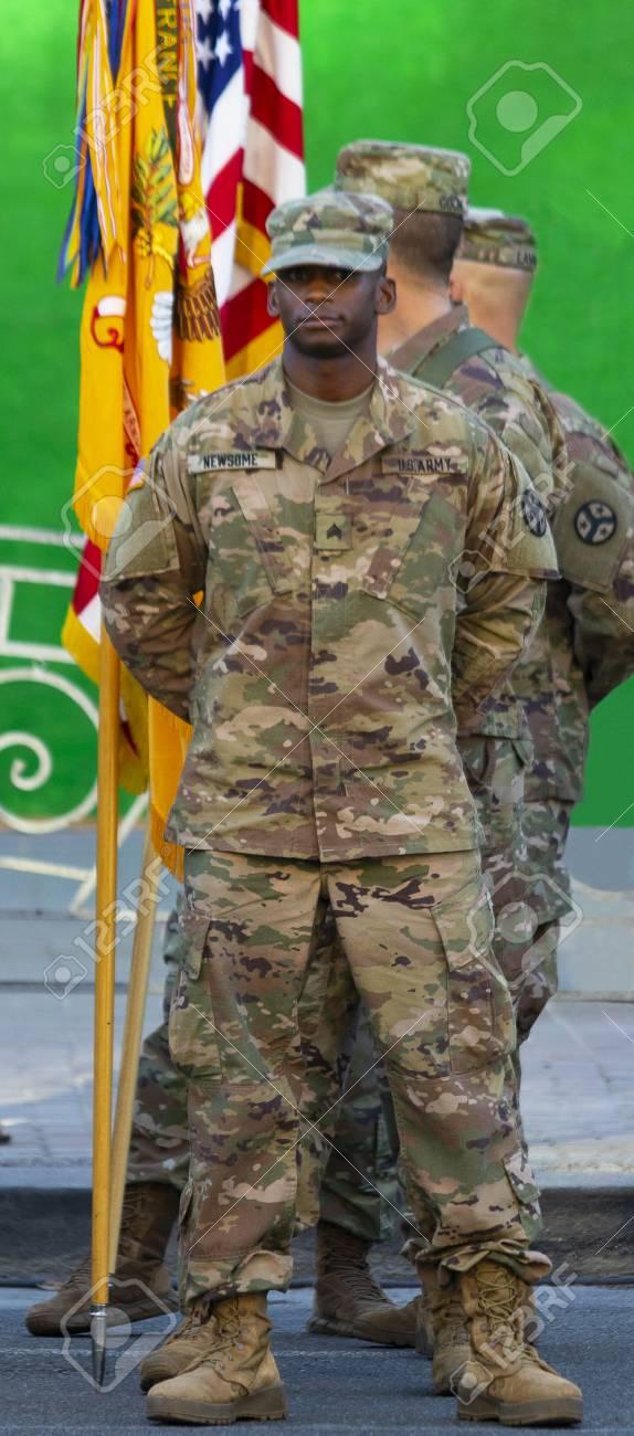 Kiev Ukraine Aug. 22, 2018: American soldiers on the background of the flag. Day of Ukraine. Kiev, Agu 22, 2018. - 108088406