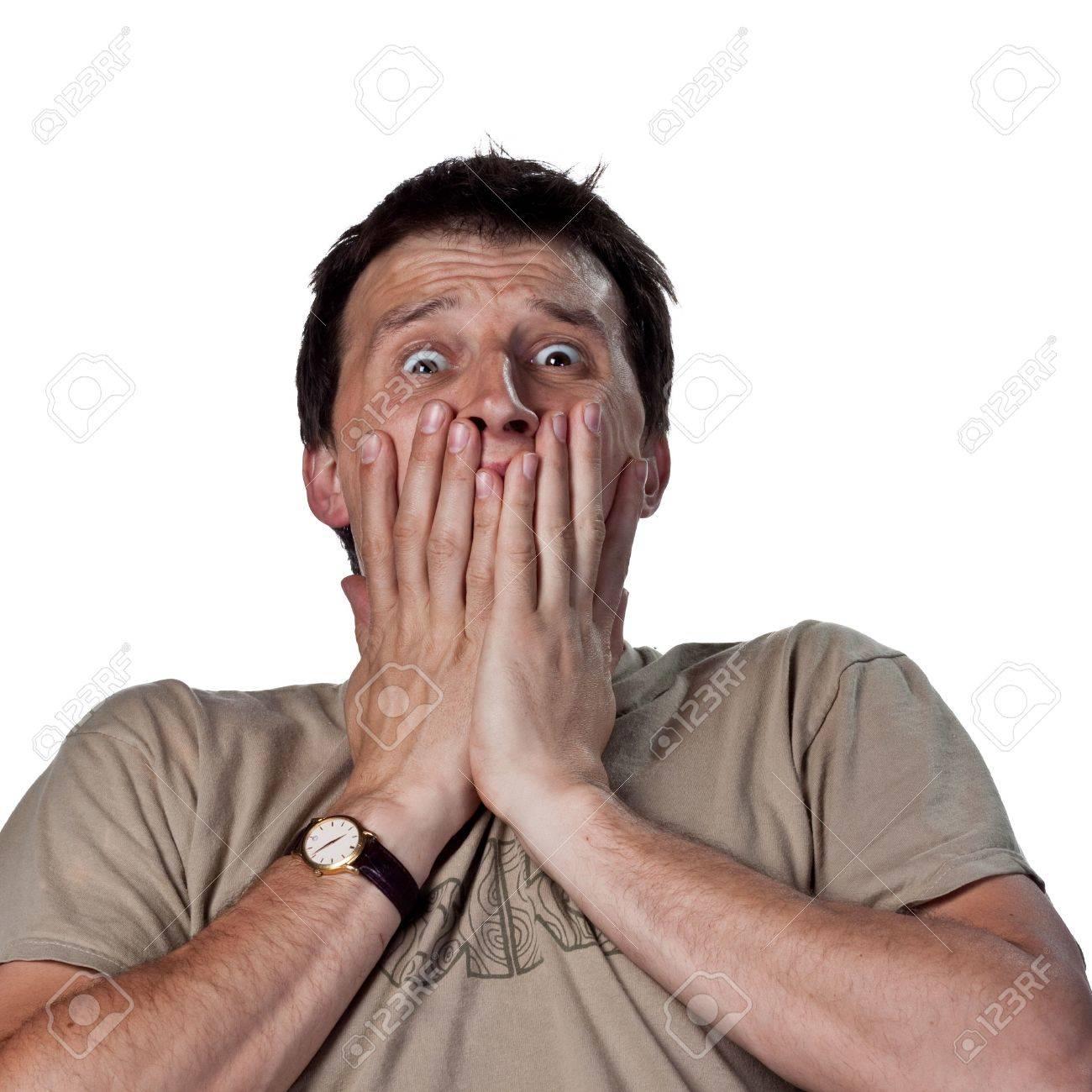 CASCO FANTASÍA 6875287-Jeune-homme-peur-de-quelque-chose-Banque-d'images