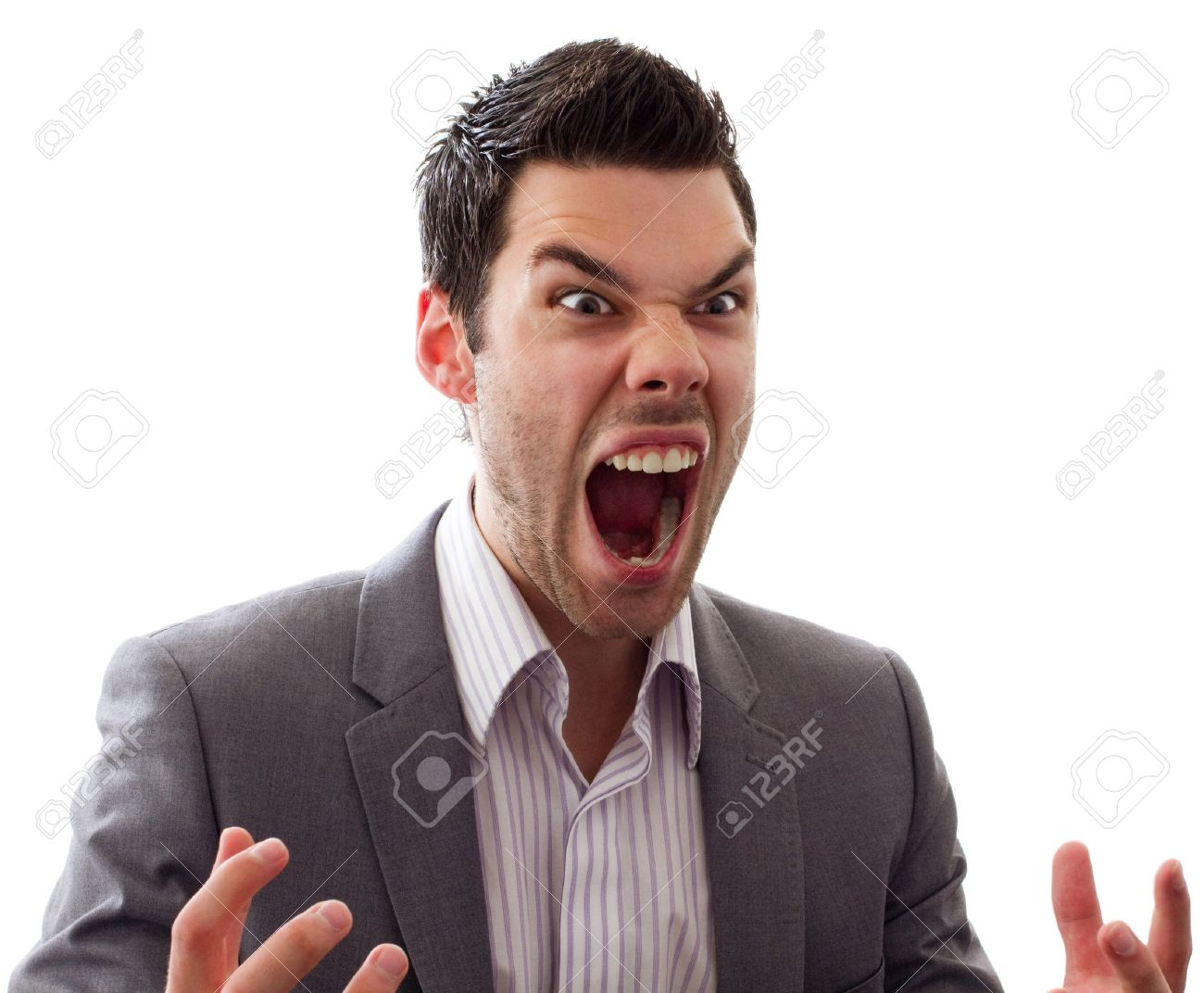 Very angry man screaming out loud, great expression Stock Photo - 9939054