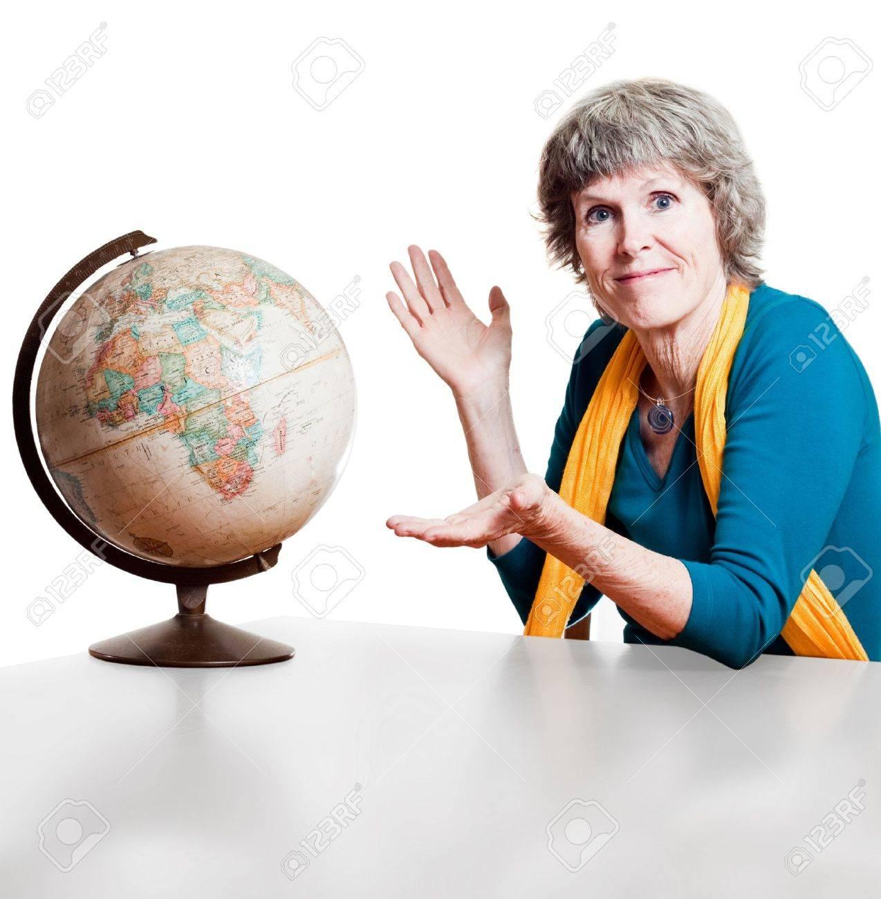 Senior traveller and the world Stock Photo - 10470646