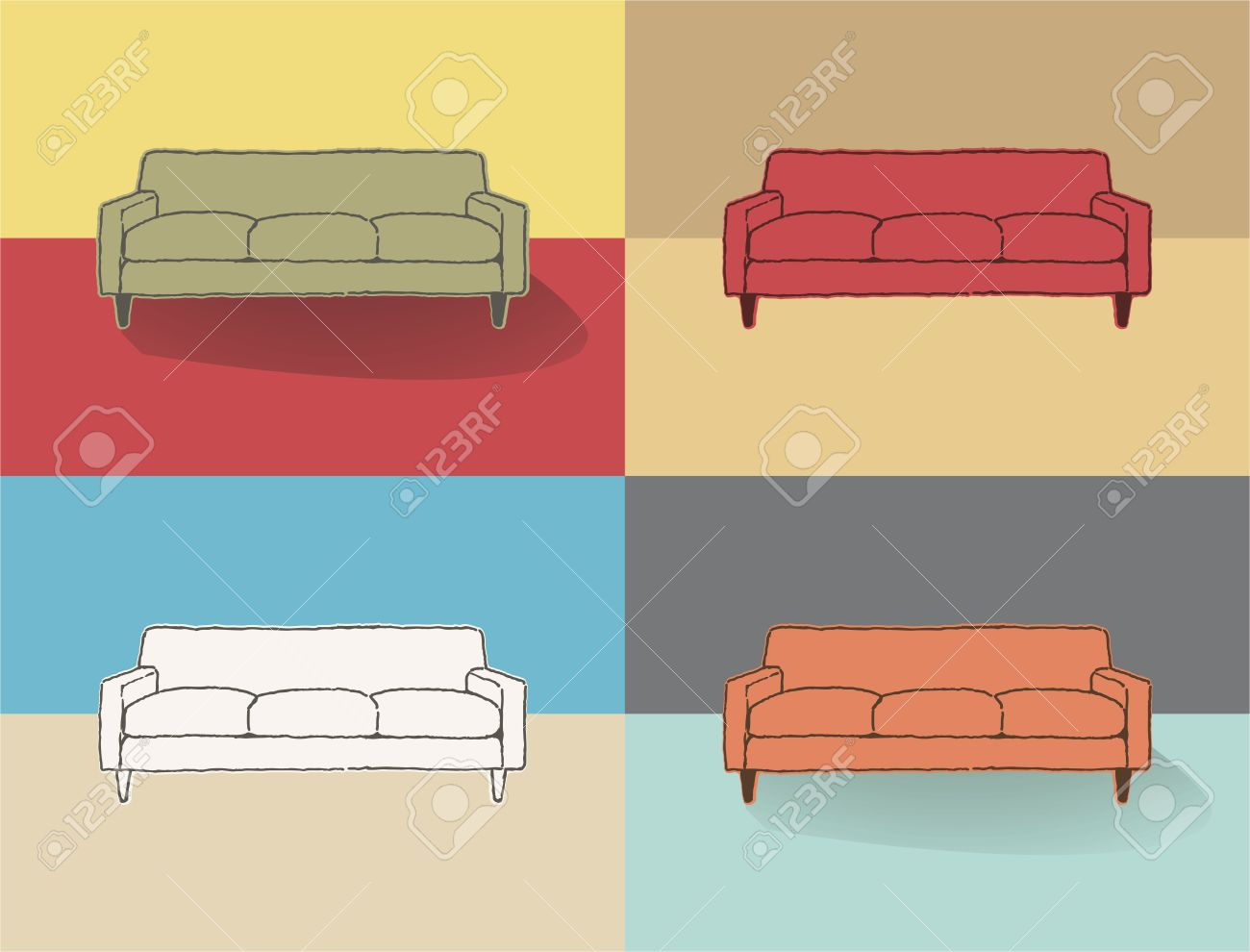 couch drawing. couch drawing stock vector - 36903374