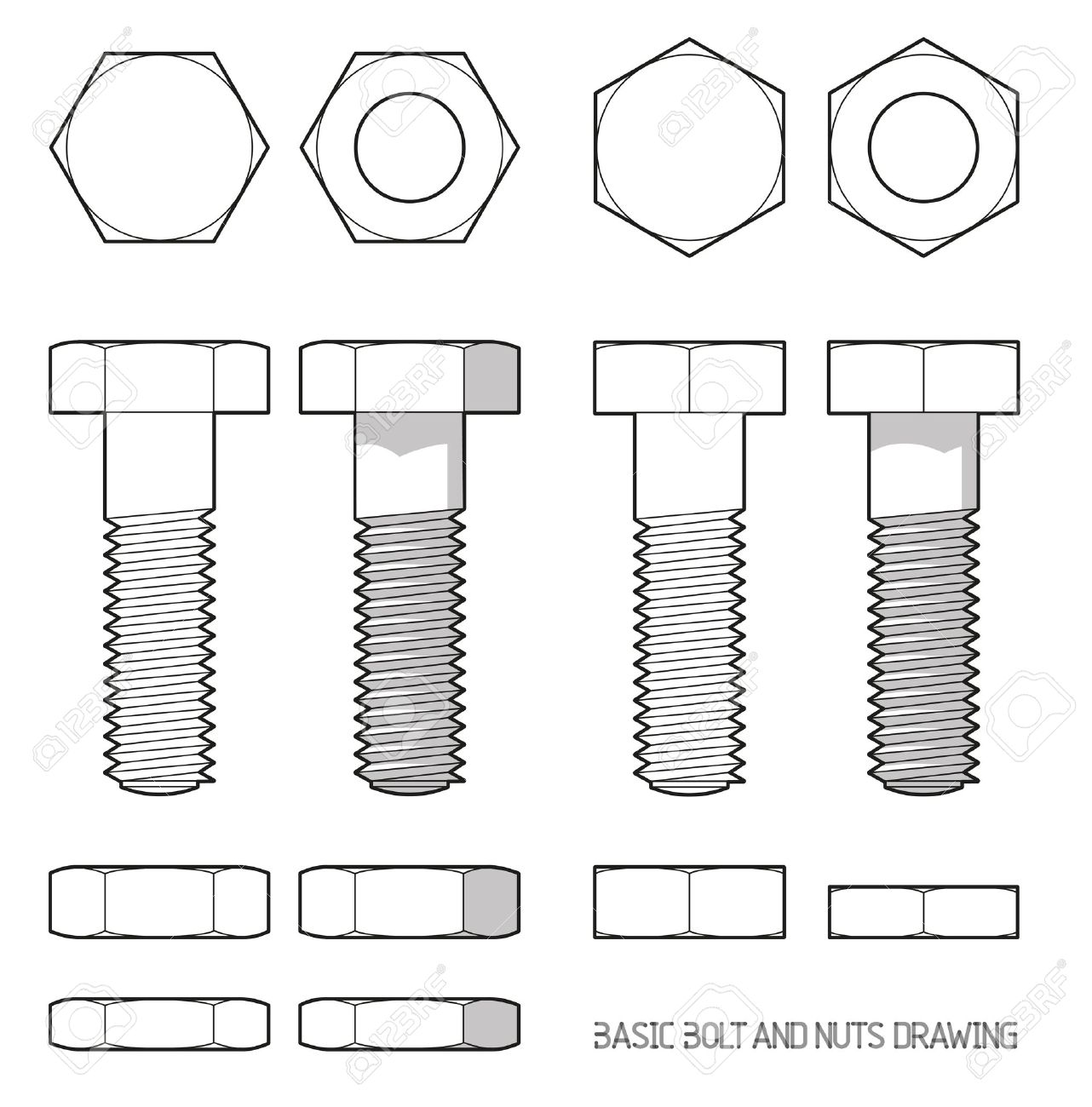Hexagonal bolt and nuts in orthogonal projection - 40926367