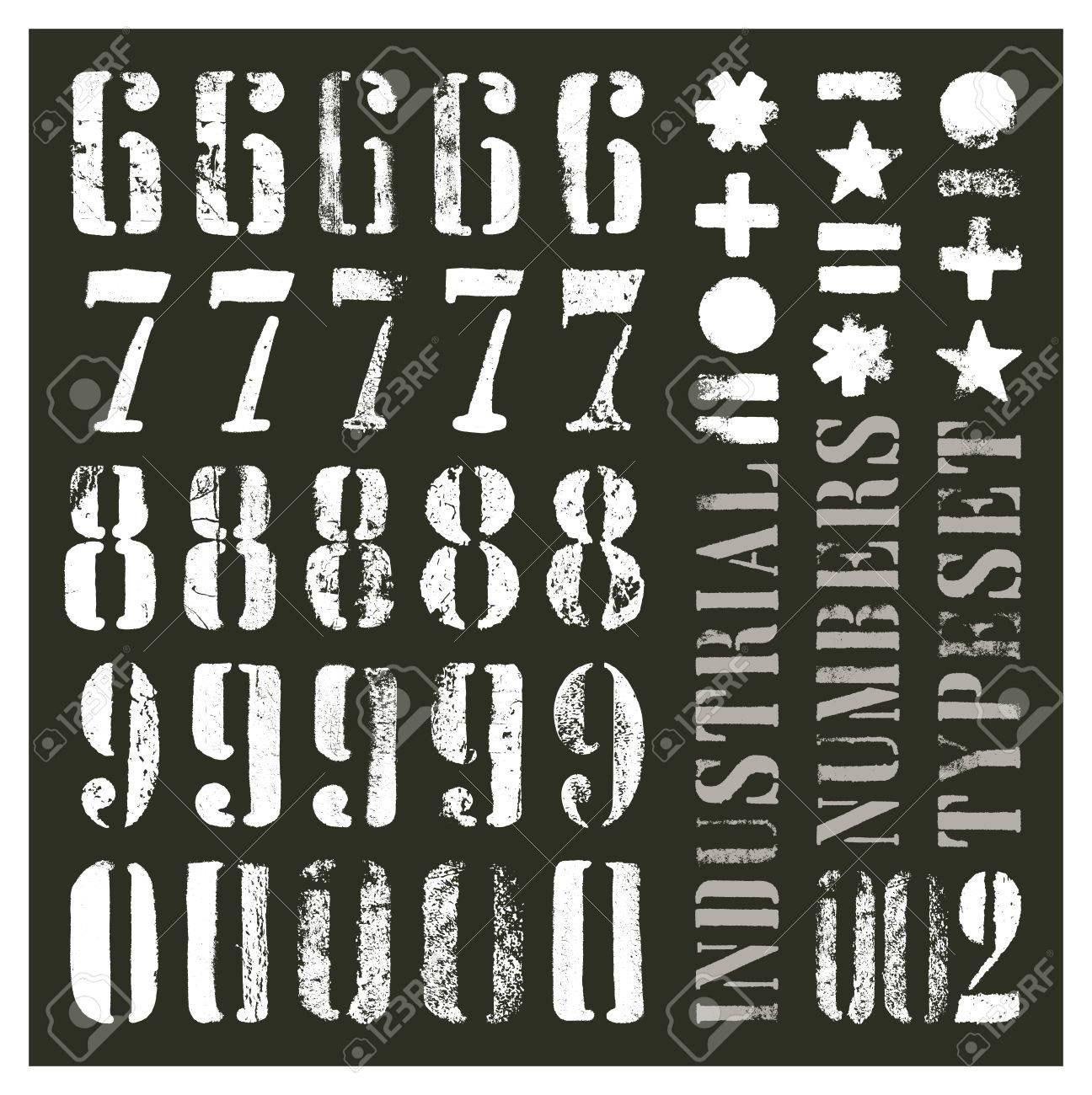 Pochoir Style Industriel numéros de grunge de pochoir industriel. au moins cinq alternatives