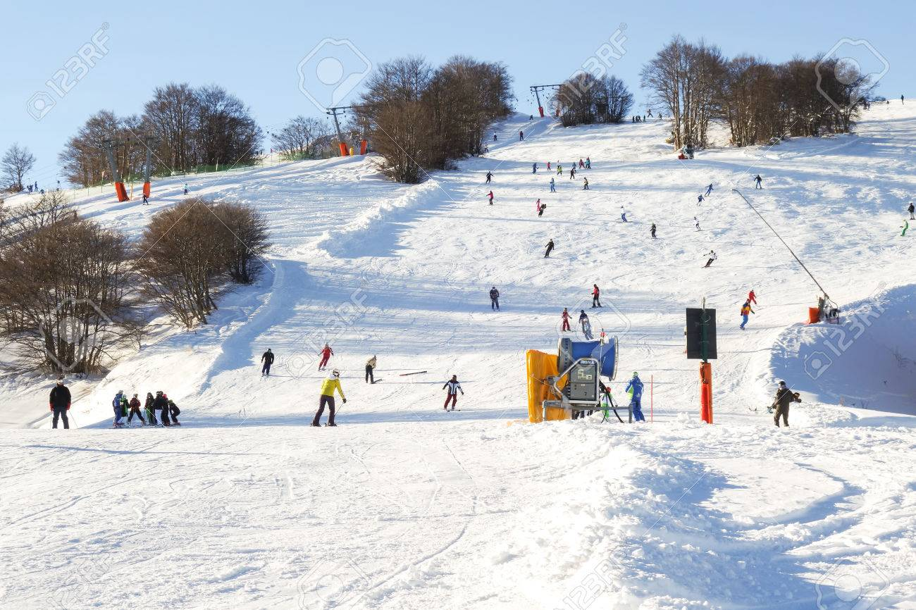 roccaraso, italy - january 02, 2015: panorama of the ski piste