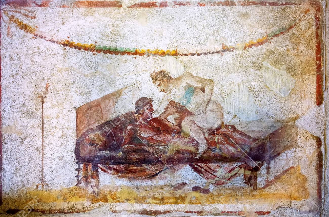 Erotic art in Pompeii. Ancient Roman fresco in Pompeii brothel Stock Photo  - 73698714