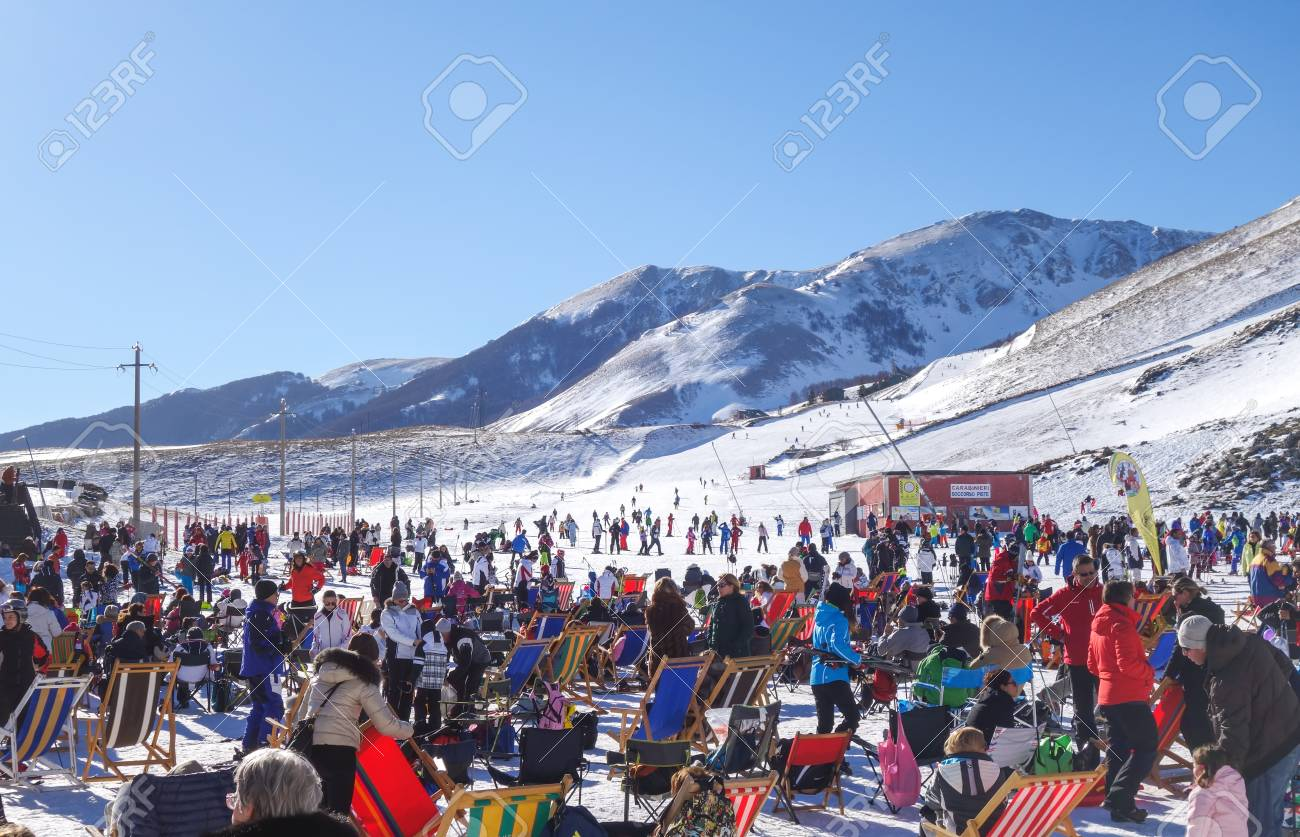 roccaraso, italiy - january 4, 2015: people relaxating at the