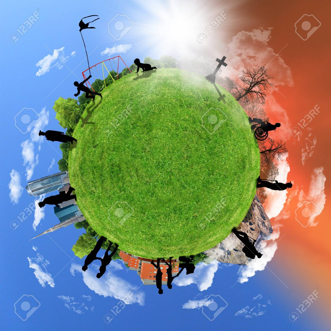 Human life circle, concept on a globe, aging. - 36573942