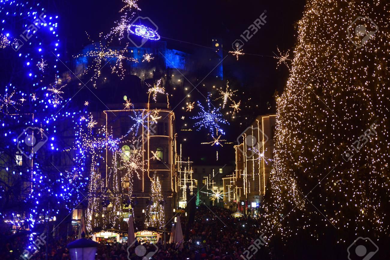 LJUBLJANA - SLOVENIA - DECEMBER 1, 2017: Official lighting of holiday christmas lights in the center of Ljubljana, the capital of Slovenia. - 93040861