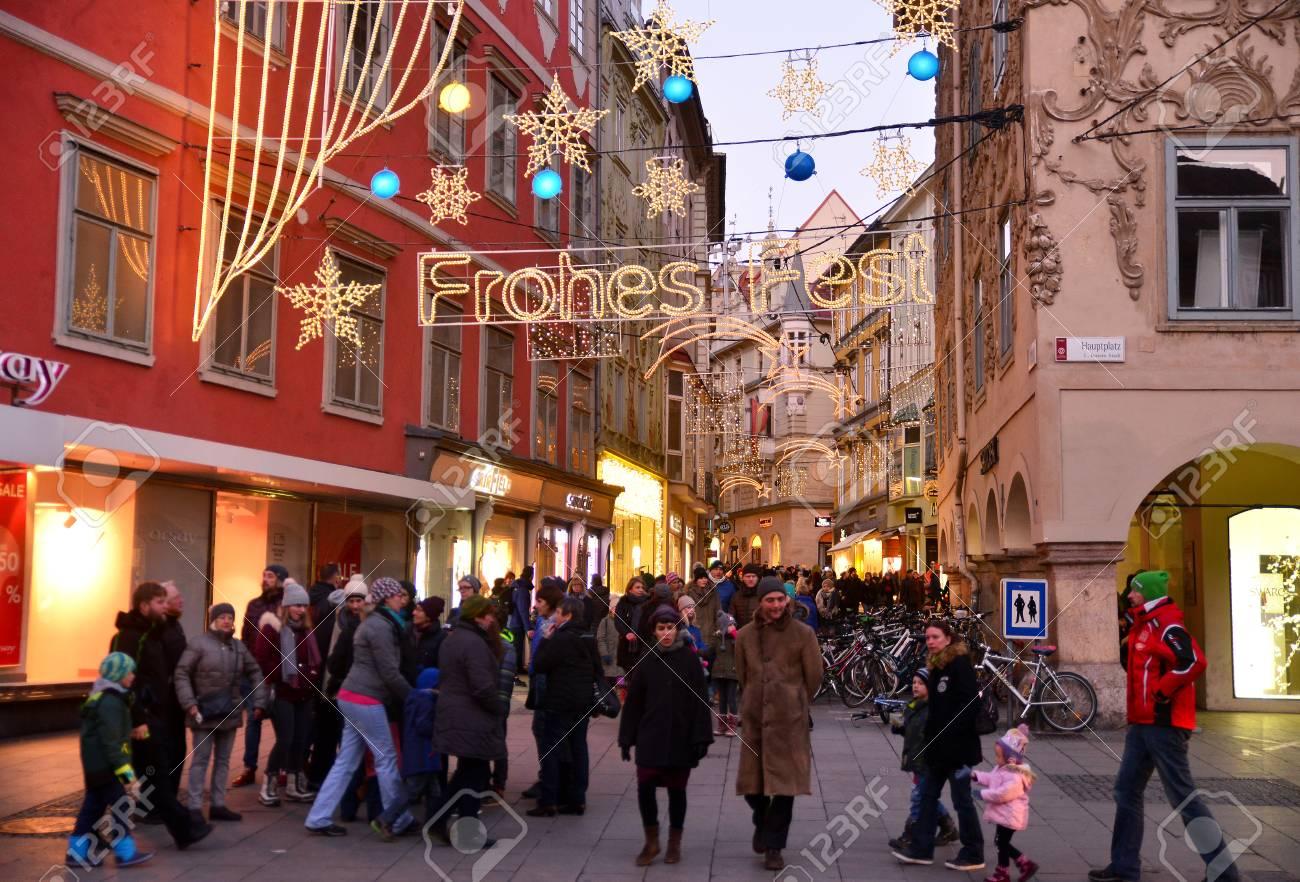 Christmas In Austria Holidays.Graz Austria December 17 2017 Christmas Decorated Town