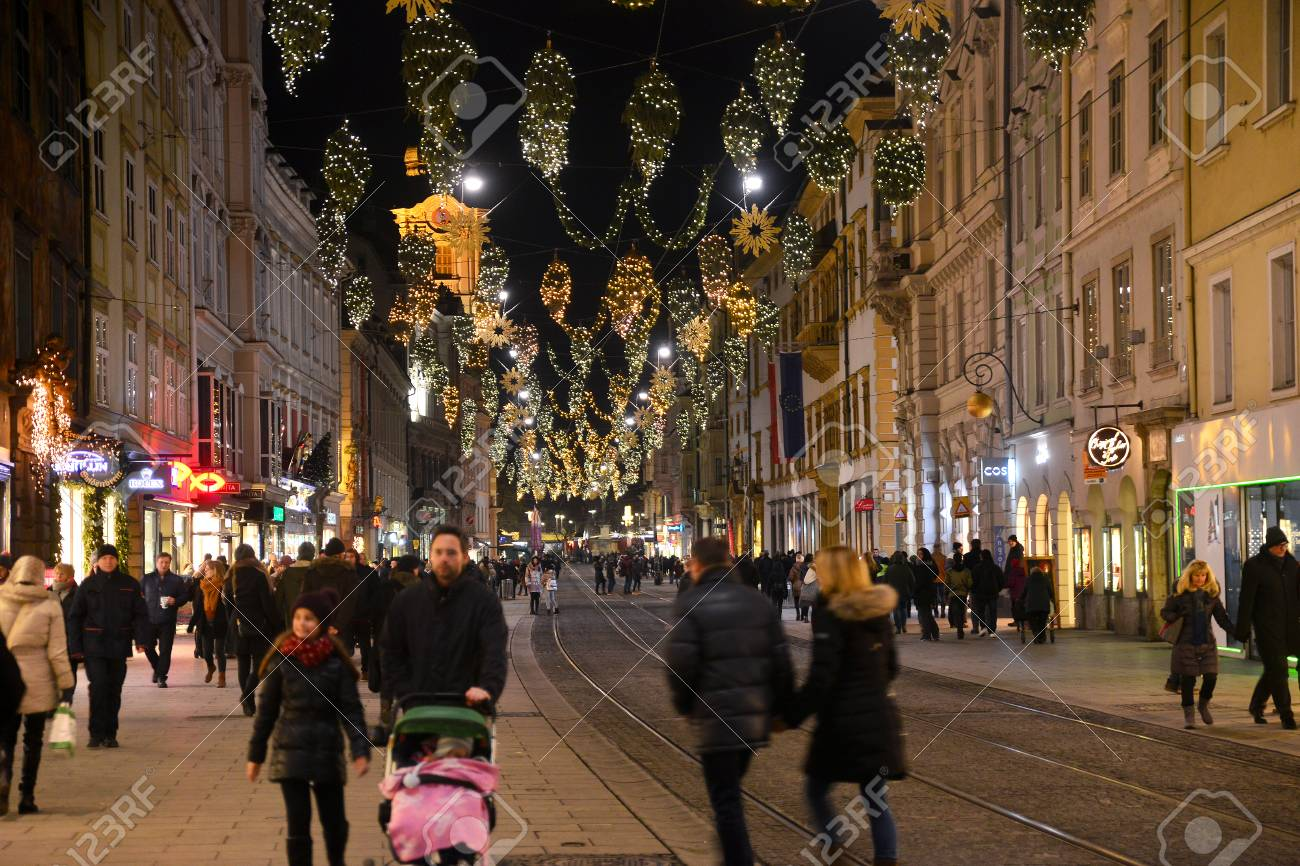 GRAZ, AUSTRIA - DECEMBER 17., 2017: Christmas decorated town of Graz during advent and holidays in December. - 93041411