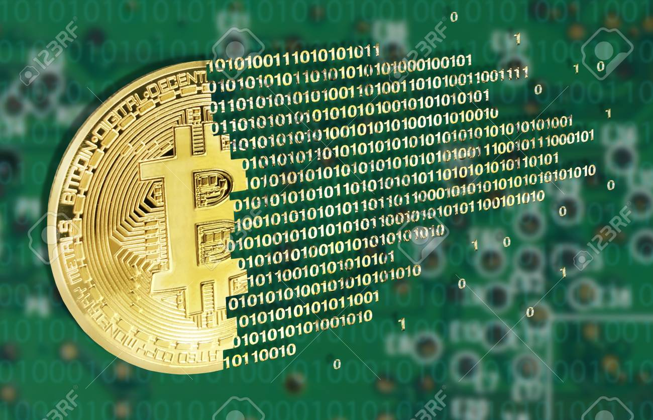 Bitcoins concept with electrical circuit in the back - 94025931