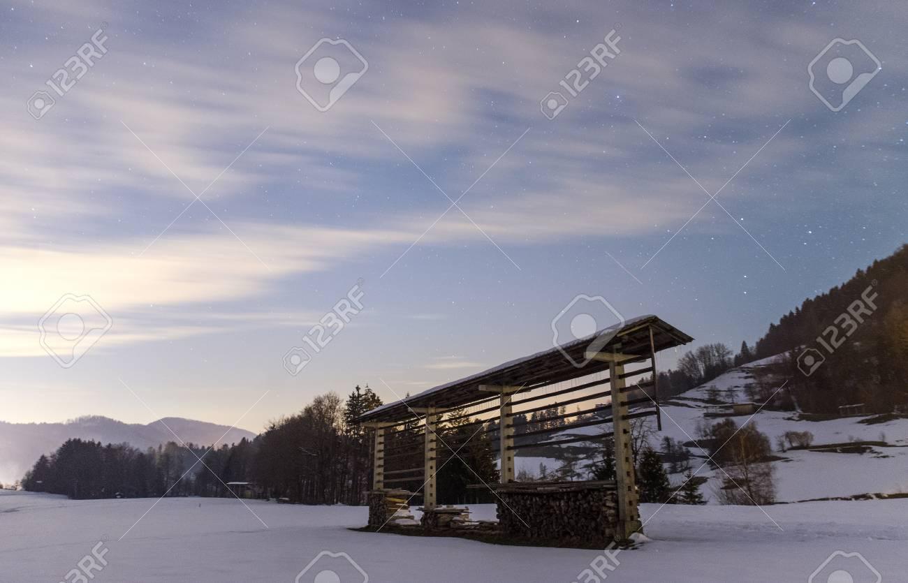 Night snowy scene in Tuhinj valley, Slovenia - 96246120
