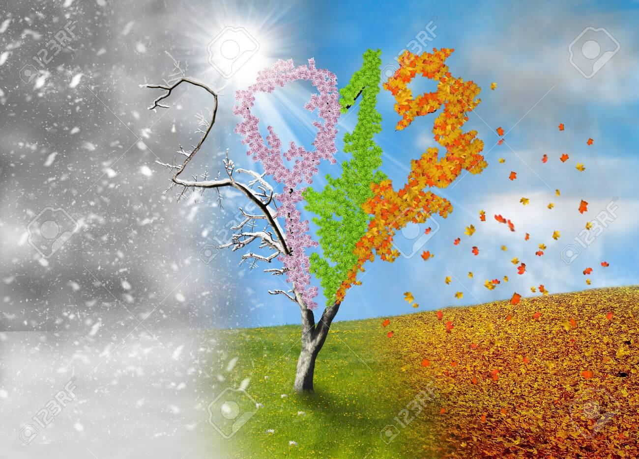 Four season tree in a shape of year 2019 - 133453233