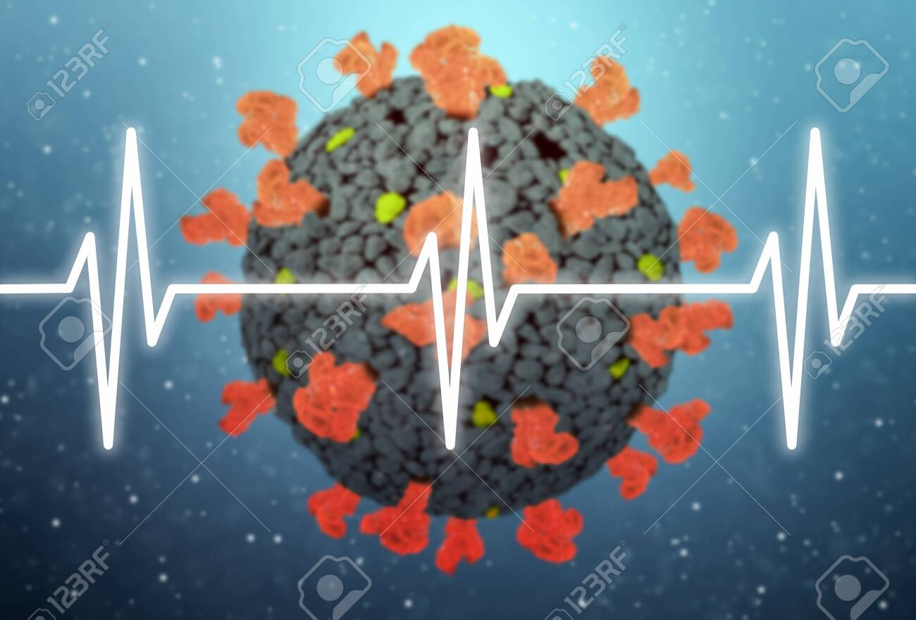Concept of COVID-19 or 2019-ncov coronavirus with heart pulse - 156113435
