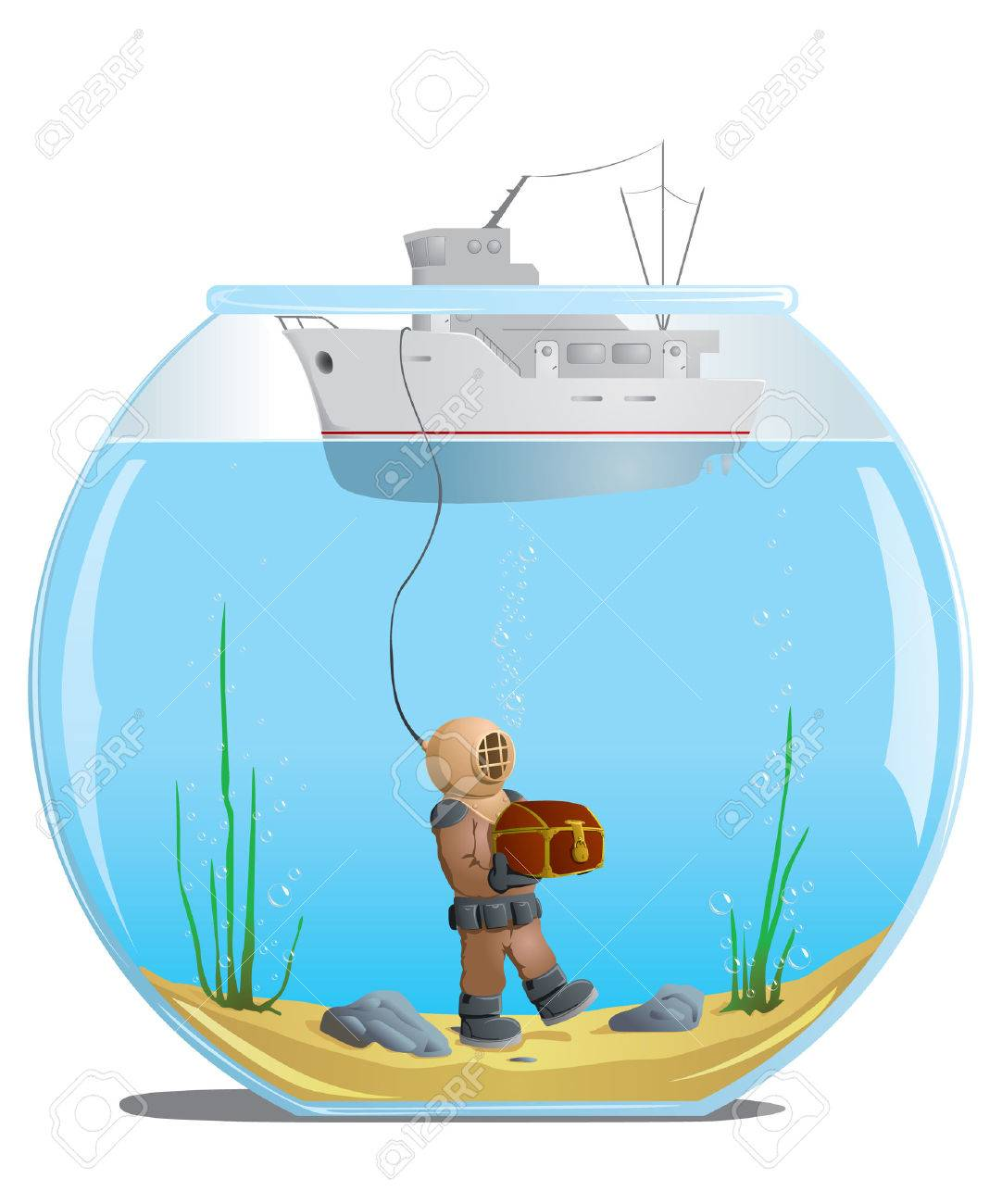 diver in the aquarium with a treasure Stock Vector - 8316248