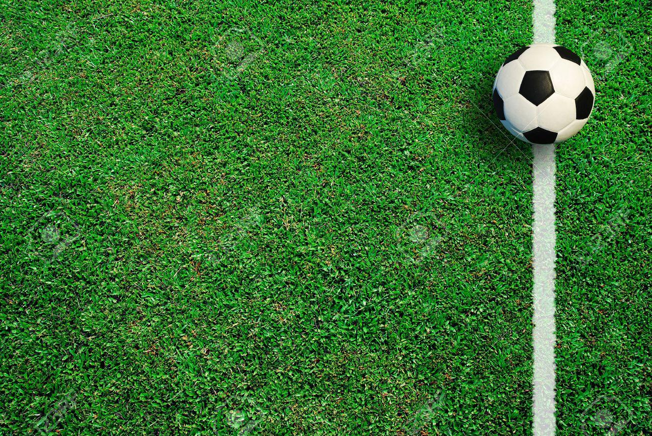 b51e9f9c2 Soccer football field stadium grass line ball background texture light  shadow on the grass Stock Photo
