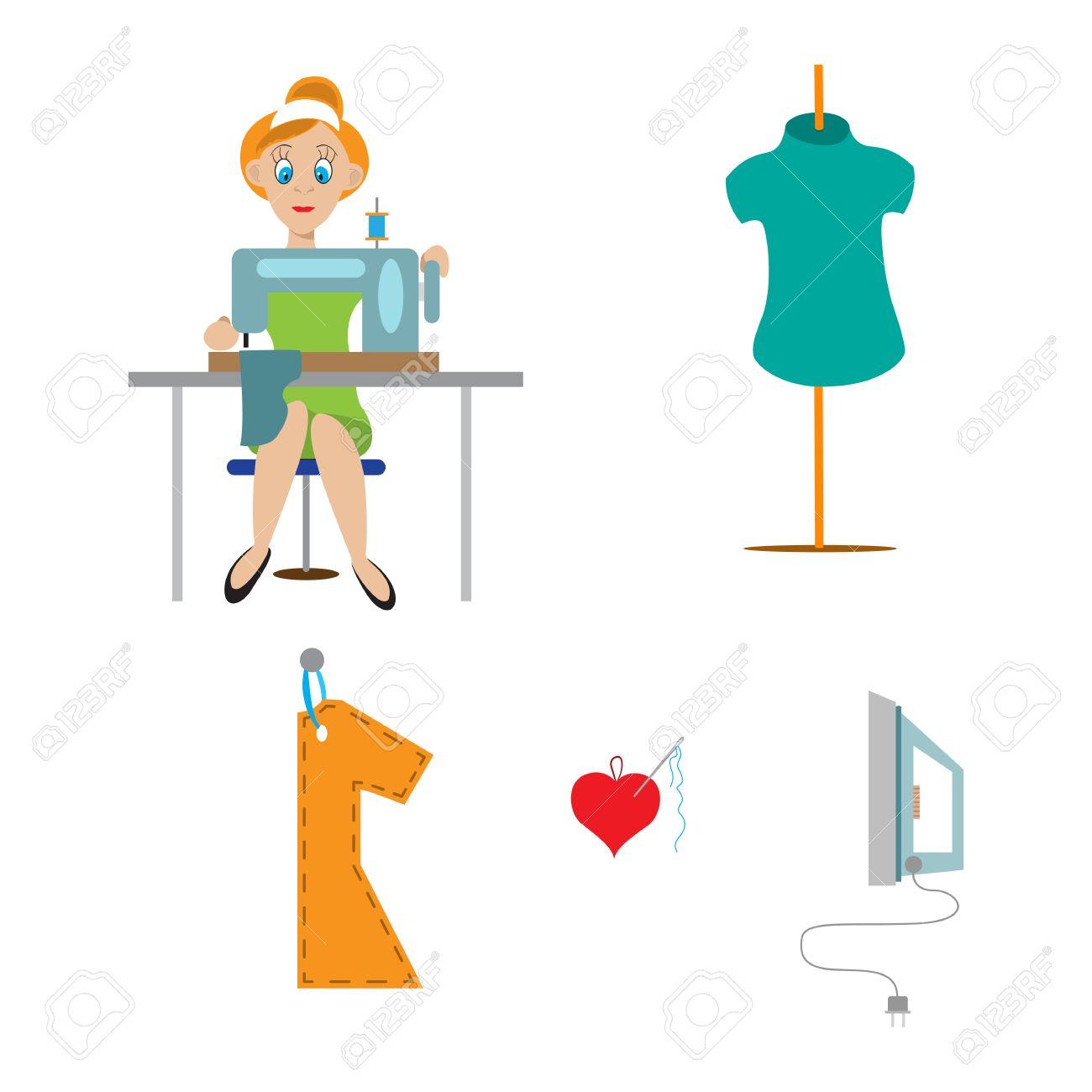 Costurera De Dibujos Animados En El Estudio Trabajando En La Máquina ...