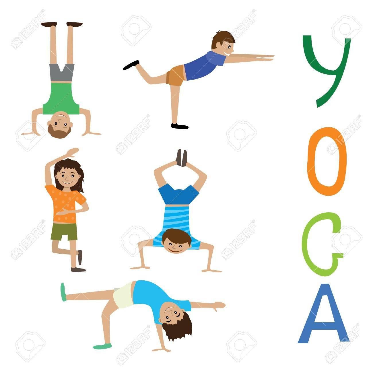 Foto de archivo - Ilustración vectorial de ejercicios de yoga para niños,  juego
