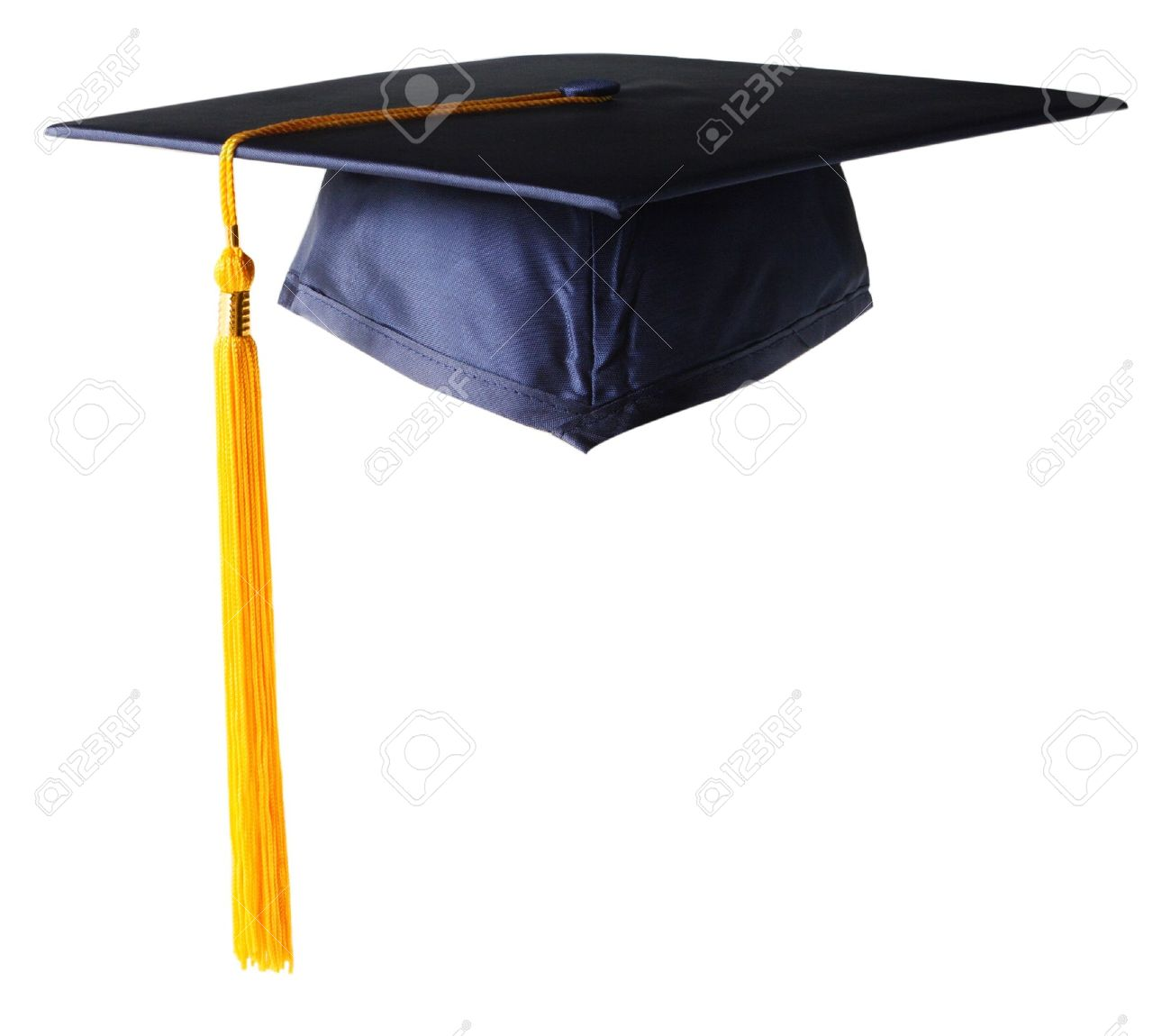 Graduation Hat White Golden Tassel Stock Photo Picture And Royalty
