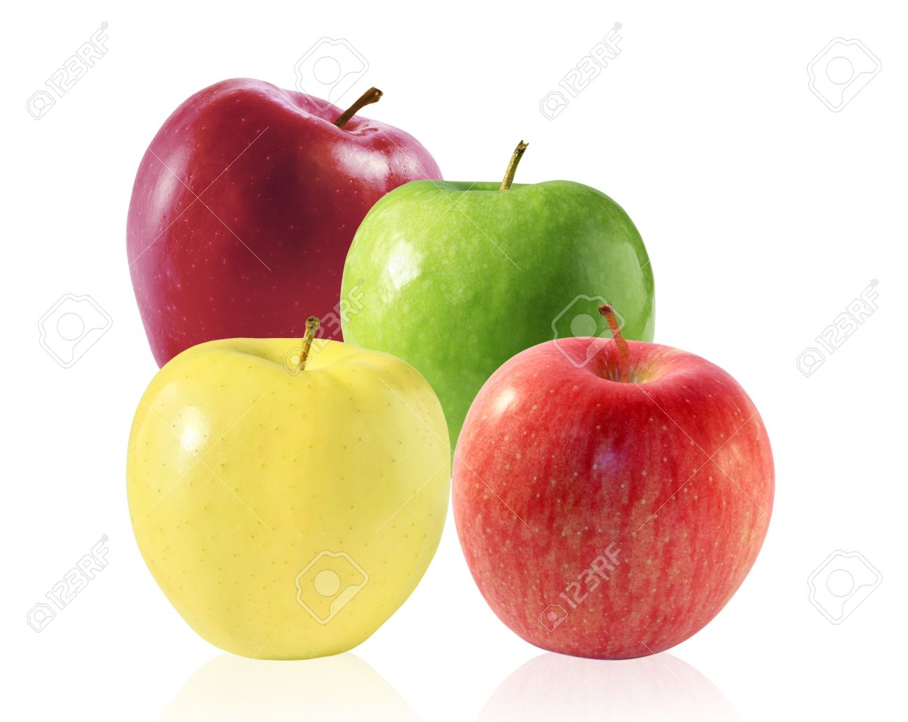 group of four apples stock photo picture and royalty free image