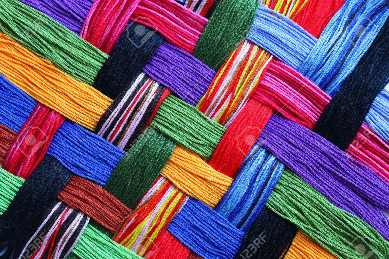Colorful lattice patterns made of embroidery threads - 5014883