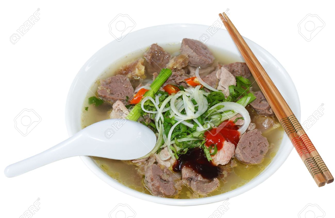 Bowl of Vietnamese food pho tai beef noodles