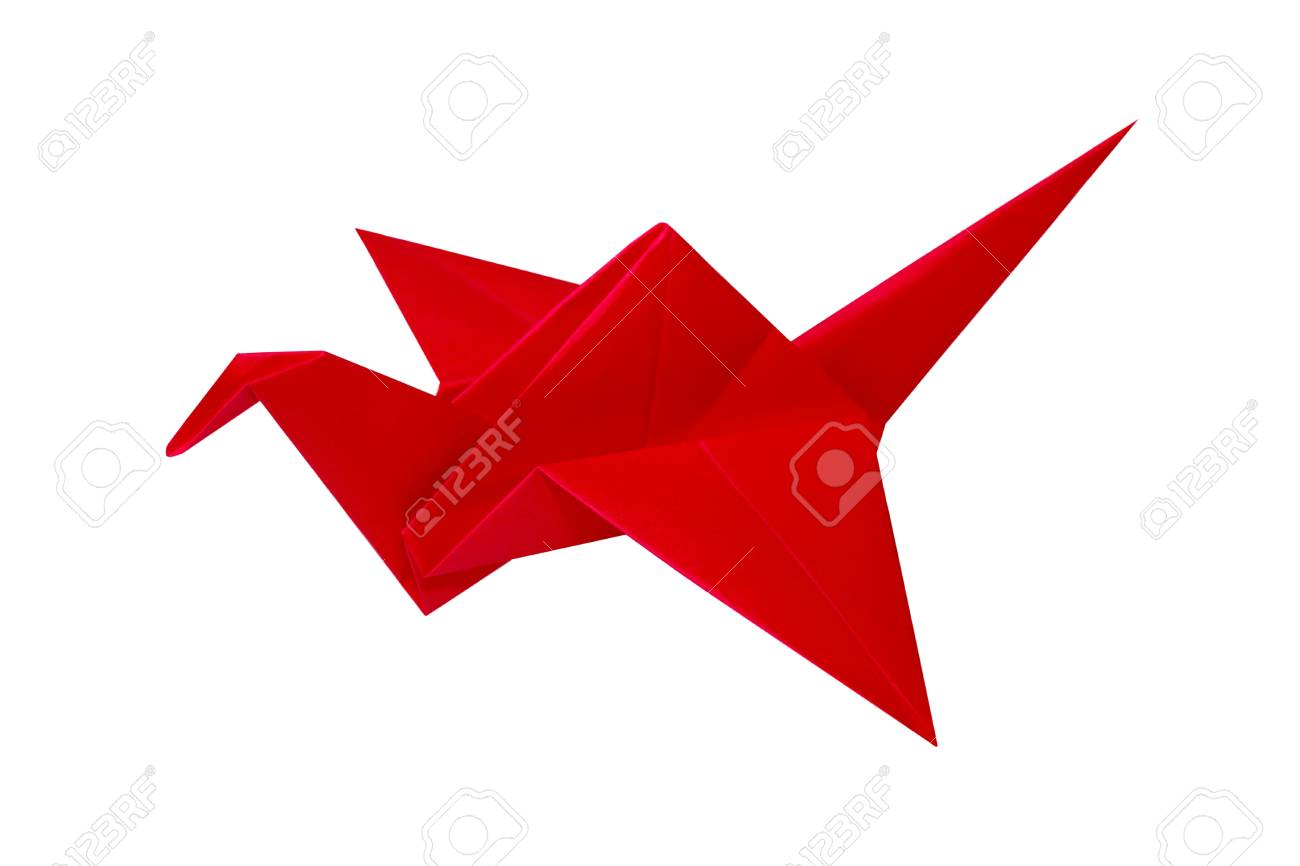 Red Paper Crane Origami Bird Over White Stock Photo Picture And