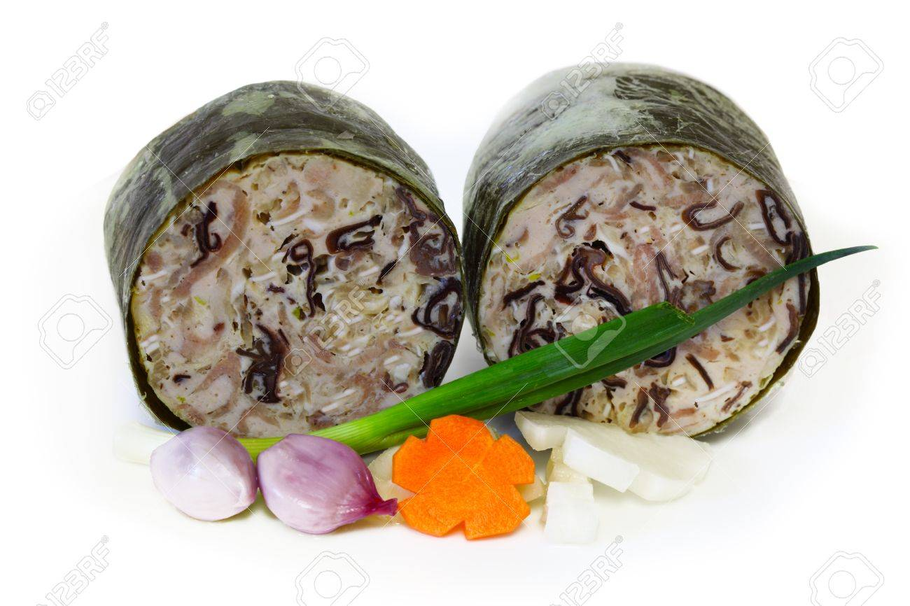 Gio Thu Vietnamese Piggy Ear Nose Pork Paste Ham Wrapped Banana Stock Photo Picture And Royalty Free Image Image 12440973