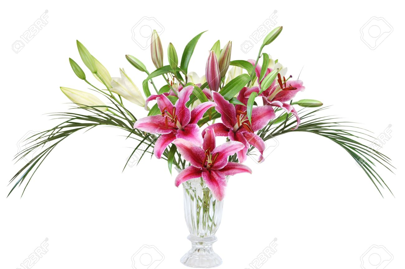 Pink and white lily flowers in crystal vase with 2 palm leaves pink and white lily flowers in crystal vase with 2 palm leaves stock photo 18577082 reviewsmspy